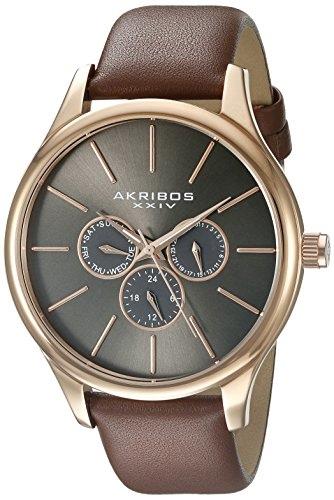 Akribos XXIV Men's AK870RG Round Silver Dial Three Hand Quartz Rose Gold Tone Strap Watch