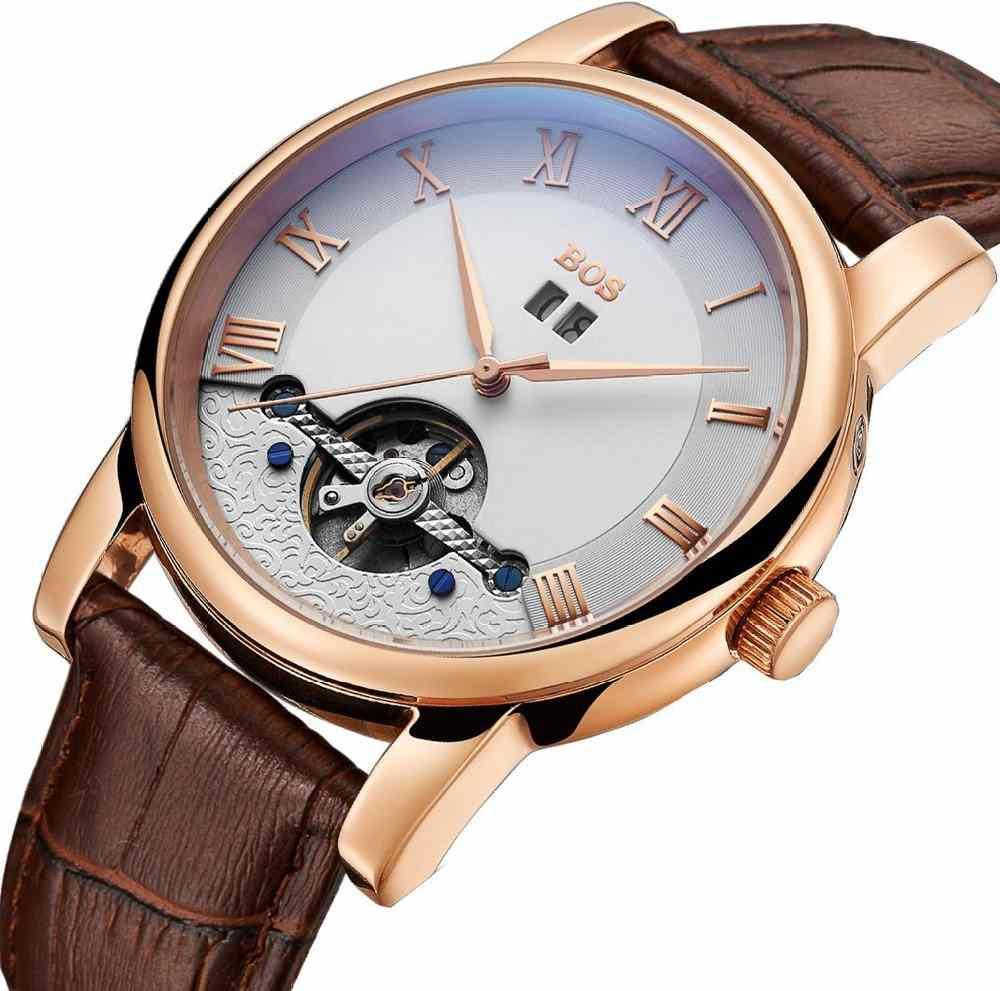 BOS Men's Automatic Mechanical Waterproof Calfskin Wrist Watches
