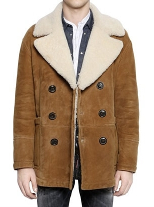 Double Breasted Shearling Coat- Dsquared2