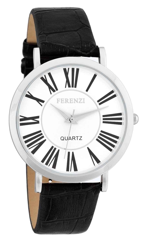 Ferenzi Unisex | Classic Roman Numeral White Face Black Alligator Style Strap Watch