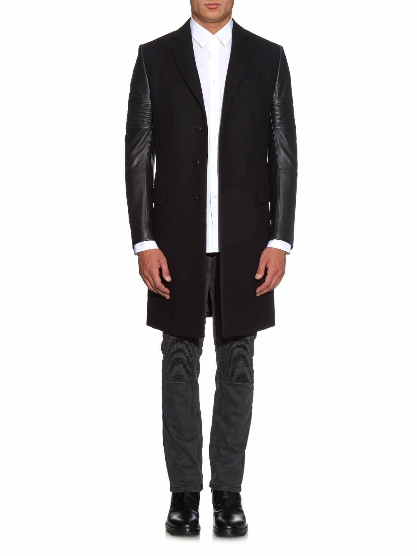 Leather Sleeved Biker Coat- Givenchy