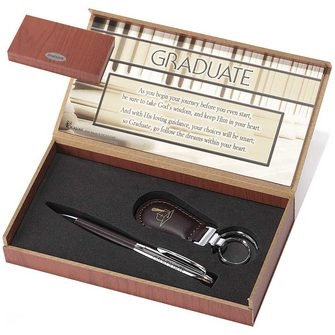 Graduate Faux Leather Pen and Keyring Set