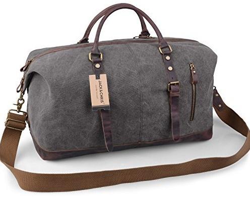 Jack Chris Canvas Leather Travel Tote Duffle Shoulder Bag
