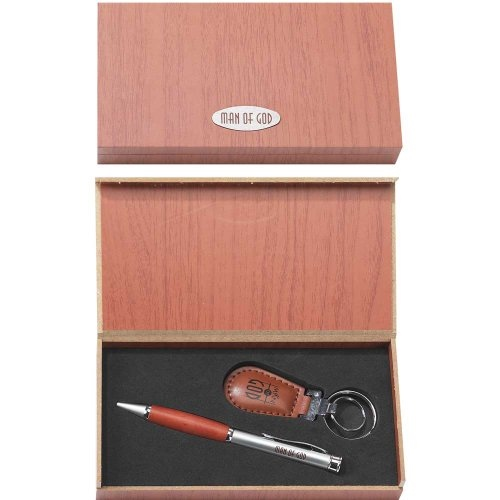 Man of God Be Strong Pen and Faux Leather Keychain Box Set