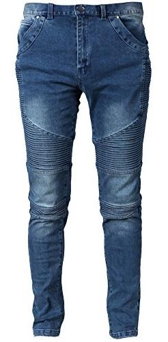 Moonwalk Men's Skinny Slim Denim Washed Hip Hop Ripped Biker Jeans Pants