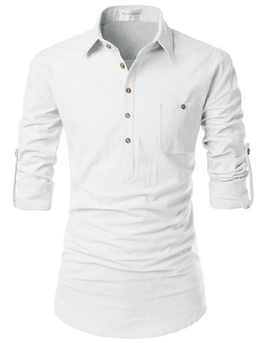 Nearkin Adorable Mens Roll-Up Sleeve Design Urbane Casual Cotton Shirts