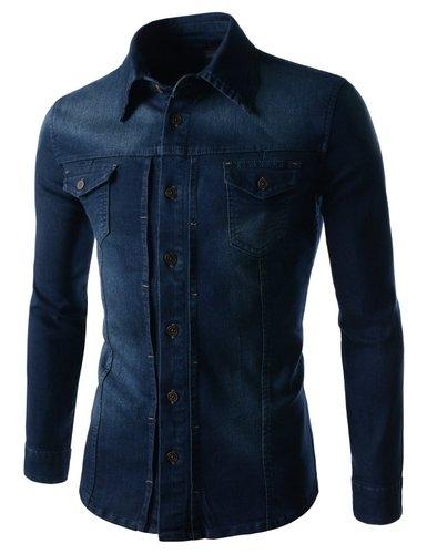 Slim Chest Two Pocket Vintage Washing Denim Long Sleeve Stretch Shirts