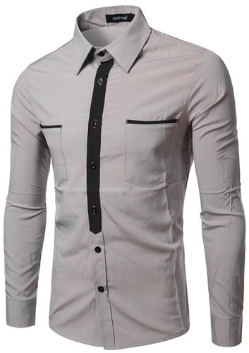 Whatless Men's Slim Long Sleeve Print Casual Button Dress Shirt With Pocket
