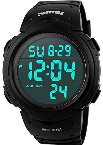 CakCity Military Mens Sport Simple Design Digital LED Screen Large Numbers Black Waterproof Casual Watch