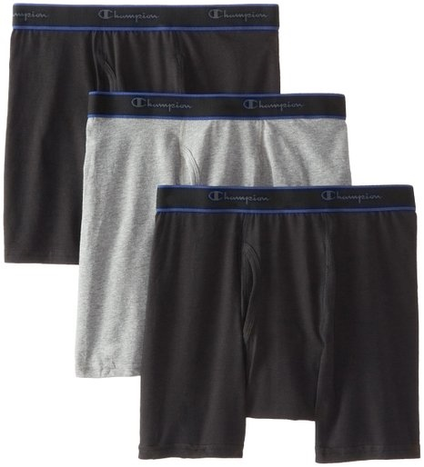 most comfortable underwear - Champion Men's 3 Pack Performance Cotton Regular Leg Boxer Briefs