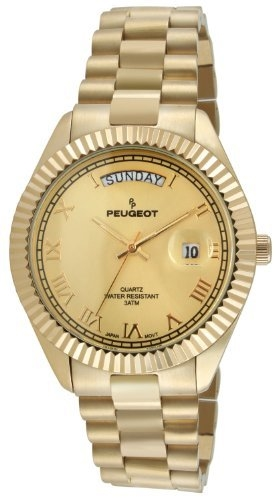 Peugot 14K All Gold-Plated Day Date Roman Numeral Stainless Steel Big Face Fluted Bezel Luxury Watch
